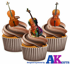 PRECUT Cello Musical Instruments 12 Edible Cupcake Toppers Decorations Birthday