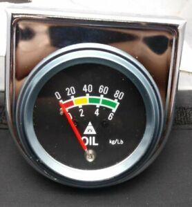 "Vintage NOS 2"" Mechanical Chrome Oil Pressure Gauge (0-80) CHEVY GM FORD HOTROD"