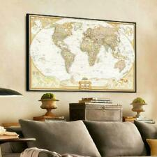 Retro Style World Map Antique Paper Poster Wall Chart Home Bedroom Decoration US