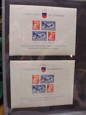 2 Liechtenstein B14 Souvenir Sheets (1) MNH and (1) cancelled Scott CV 120.00