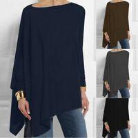 Womens Solid Long Sleeve Irregular Sweatshirt Loose Print Pullover Tops Blouse