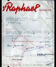 PARIS (III°) DISTILLERIE / LIQUEUR ST RAPHAEL QUINQUINA en 1953