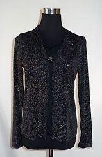 USA Bentley Top Shirt Blouse Black Glitter Sparkle Bling Small Dressy Embellish