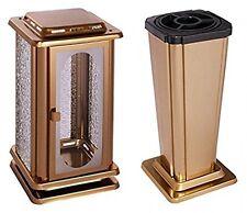 Grabset Edelstahl Oberfläche bronzeton Grablaterne Grabvase Grablampe  Vase