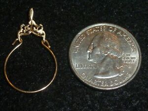 14K SOLID YELLOW GOLD DECORATIVE CHARM HOLDER