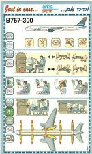 Arkia Israel Airlines Safety Card Boeing 757-300