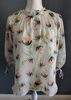 Lauren Conrad Floral Blouse 3/4 Sleeves Sheer Womens Size S