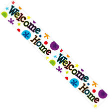 Welcome Home Foil Party Banner - Welcome Home - Multicoloured Spots & Stars