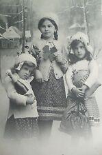 cpa enfant fille bonne année neige postcard child girl snow cartolina bambina ak