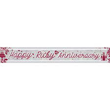 Ruby Wedding 40th Anniversary Banner Party Decoration Bunting Shiny Holographic