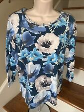 ALFRED DUNNER Hawaiian Floral Luau Blue Hawaii Blouse Top Shirts Size PM ❤️tb3m7