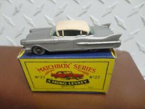 Matchbox Lesney Silver #27 Cadillac Sixty Special w/Grey Wheels Mint in Box