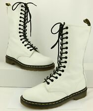 Dr. Martens WOMEN'S White Leather Classic Combat Boots Size 10 US