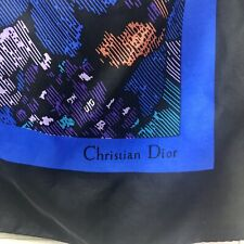 "Vintage Christian Dior Silk 35"" Square Scarf Purple Blue Orange Black Abstract"
