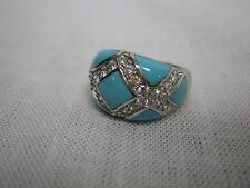 SIGNED EG ERIC GROSSBARDT 925 STERLING SILVER TURQUOISE W/ CZ RING