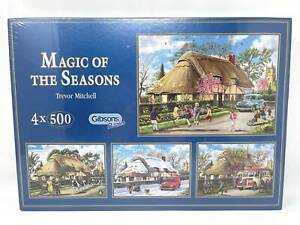 Gibsons Magic Of The Seasons Trevor Mitchell 4 x 500 Piece Jigsaw Puzzle NEW