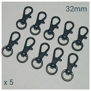 5 x Black Metal Lobster Swivel Clasps Snap Hooks DIY Keyring Keychain Lanyard