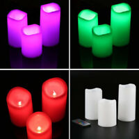 3Pcs Flameless Color Changing Wax LED Pillar Candle Light Remote Control Timer
