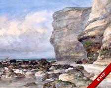 THE ROCKY BEACH CLIFFS OF FECAMP FRANCE PAINTING ART REAL CANVAS GICLEEPRINT