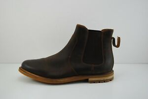 Men Clarks Foxwell Top Chelsea Brown Beeswax Leather Boots Size 11 M  26148 011