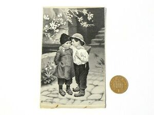 19thC French Silk Woven Stevengraph Picture Two Children by Neyret Freres