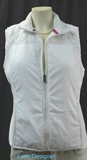 Tek Gear Women's Size M Fleece Mockneck WHITE Vest top full zip pocket quilted