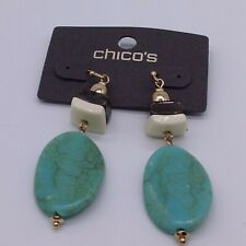 Chico's turquoise color oval stone  earrings