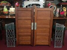 Early 1900s Oak Bar Saloon Doors with Glass Side Panels
