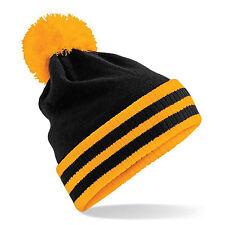 CUFFIA Beechfield INVERNO Pompon UNISEX CAP Snow STRISCE Contrasto MONTAGNA Moda