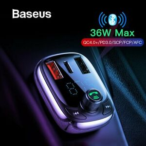 Baseus Bluetooth Dual USB Car Charger Quick Charge Smart Adapter FM Transmitter