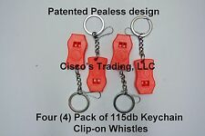 4 Lot Pack Emergency Survival Whistle Keychains Orange Clip On Loud 115db Rating