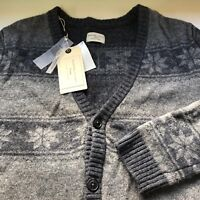 Mens 100% Merino Wool Cardigan Size S SELECTED HOMME Grey Melange Button Front