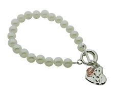 Phi Mu Syn Pearl Sorority Bracelet Jewelry with Heart + Swarovski Crystal