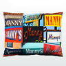 Personalized Pillow featuring the name MANNY in photos of signs