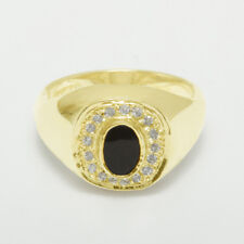 14ct Yellow Gold Natural Onyx & Cubic Zirconia Mens Signet Ring - Sizes N to Z