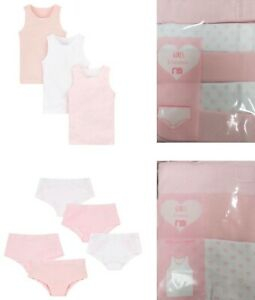 Bnwt Mothercare Girls 3 & 5 Pack Pink White Cotton Vests Knickers Hipster Shorts