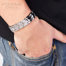 Power Ionics Mens 4in1 Multifunctional FIR Germanium Magnetic Ions Bracelet 15mm
