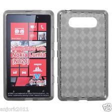 Nokia Lumia 820 CANDY GEL SKIN COVER SOFT TPU CASE ACCESSORY SMOKE CHECKERS