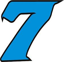 """x1 1"""" Race Number vinyl stickers (MORE in EBAY SHOP) Style 2 Number 7 Lblue/Blck"""