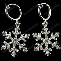 CLIP ON BIG CRYSTAL SNOWFLAKE EARRINGS glass rhinestone SILVER PLATED hoop clips