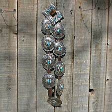 Bisbee turquoise concho belt Navajo style old pawn museum piece