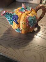 Vintage Nantucket Pumpkin Grapes Harvest Thanksgiving Hand Painted Teapot