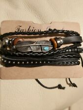Metal/leather Brown. Stacker Mens Bracelet