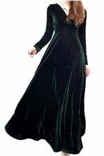Zilcremo Women Elegant Velvet Dress Long Sleeve V Neck, Green, Size 12.0 hEfh