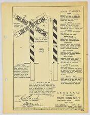 "Vintage Railroad C.B. & Q. R.R. Metal Track Sign Specs. ""Road Xing"". c.1927."