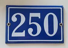 VINTAGE BLUE HOUSE NUMBER SIGN 250 Steel enamel door gate address plaque