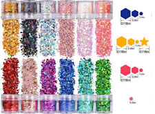 12 jar Halo hexagon Mixed size Glitter/ Holo chunky Nail Flakes 3D DIY sequins