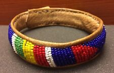 Bright Multi-color Navajo Handcrafted Beaded Leather Inside Bracelet