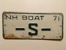 1971 New Hampshire Boat License Plate Single Letter S Low Number Digit Original