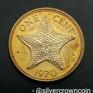 Bahamas 1 Cent 1970. KM#15. One Penny Coin. Starfish. 🌟 ONE YEAR ISSUE. 125.000